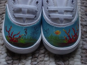Underwater Theme Baby Shoes:  Seahorse, Angel Fish and Coral