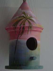Wooden Custom Bird House with Palm Trees at Sunset
