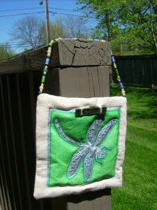 Dragonfly Wallhanging with Glass Bead Accent