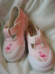 Hand Painted Toddler Girl's Pink Tennis Shoes with Pink Flamingos