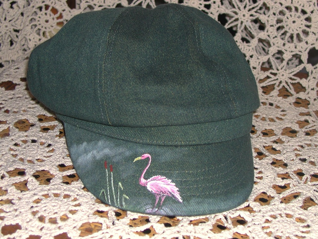kn-pink-flamingo-on-green-denim-hat