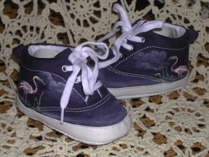 Pink Flamingos & Cattails on Navy Baby Shoes