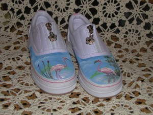 Pink Flamingo and Cattails on Children's Zipper Shoes