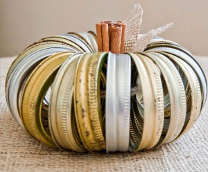 Recycled Jar Ring Pumpkin Centerpiece