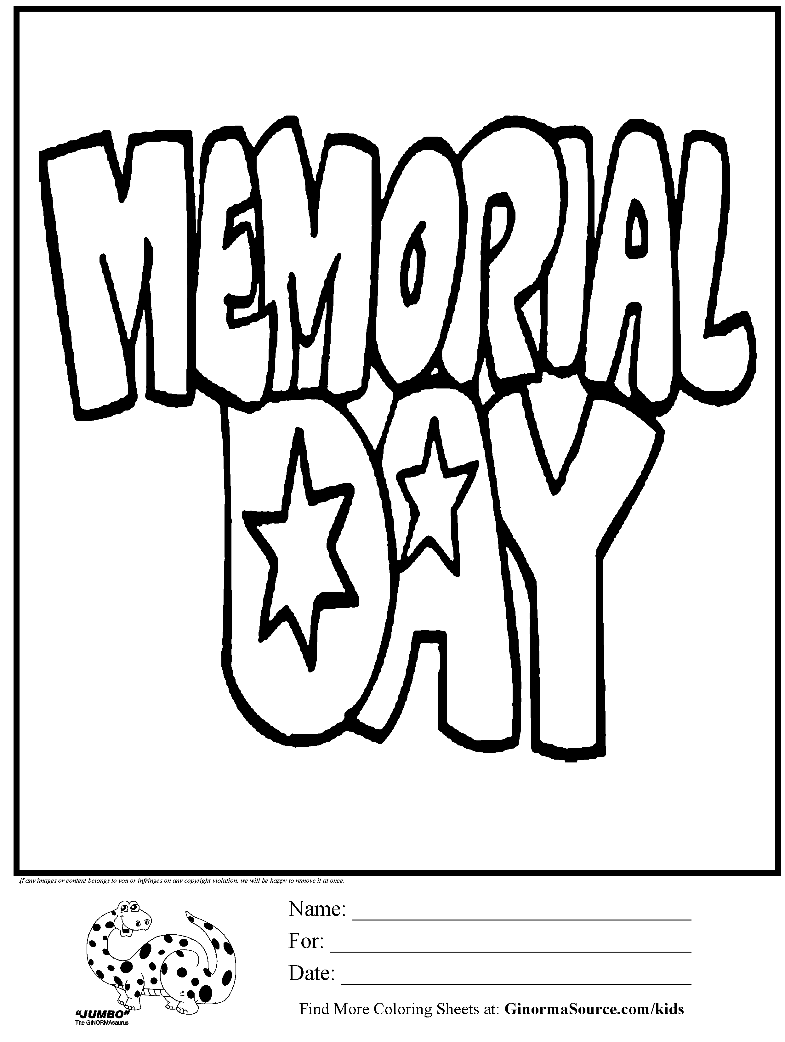 Coloring Page Memorial Day