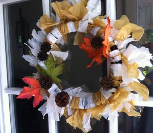 FREE DIY KID CRAFT – Recyclable Plastic Wal-Mart Bag Fall Wreath