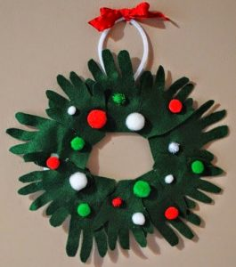 Very Simple Felt Christmas Craft Hand Print Wreath Keepsake for Kids