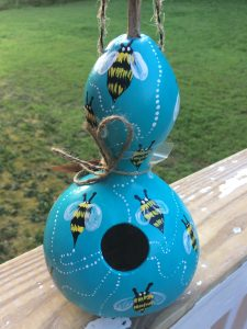 Custom Hand Painted Blue Bumble Bee Birdhouse Gourd for Outdoors